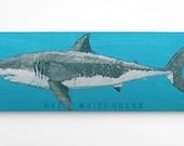 Shark Decor- Great White Shark Art Block- Beach Theme Bedroom- Shark Nursery- Fish Art- Great White Shark Print- Gifts for Boyfriend- Gifts