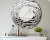 Silver Abstract Water-Inspired Metal Wall Art Mirror - Handcrafted Modern Circle Mirror Accent - 3D Contemporary Functional Art