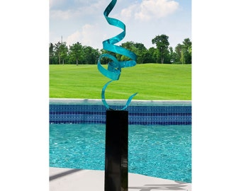 Aqua Blue Modern Metal Sculpture Art, Indoor Outdoor Abstract Metal Decor, Extra Large Garden Statue - Teal Perfect Moment 24 by Jon Allen