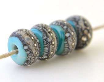 Lampwork Glass Bead Set - COPPER GREEN Silvered Granite Handmade taneres - glossy or matte