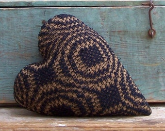 Primitive Heart Pillow, Antique Coverlet Pillow, Americana Cottage, Rustic Decor, Small Pillow, Cushion, Navy Blue & Ecru - READY TO SHIP