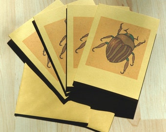 """Gold Bug Beetle Note Cards 4"""" by 5 1\/2"""""""