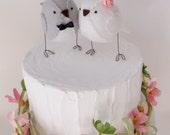 Wedding cake topper birds in grey and white with pink