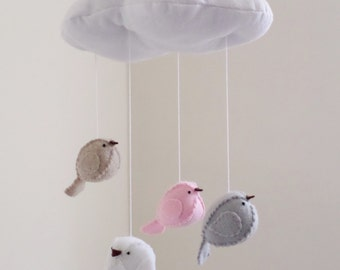 Bird mobile,  cloud and birds, grey, pink and white nursery decor