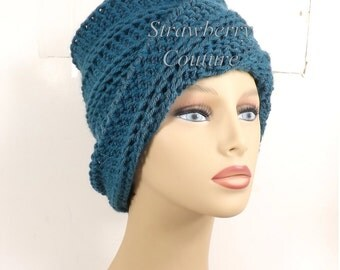Antique Teal Blue Crochet Hat Womens Hat Trendy, Crochet Beanie Hat, Antique Teal Blue Hat, African Hat, OMBRETTA Beanie Hat for Women