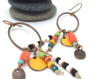 Colorful Boho Artisan Copper Drop Earrings with Vintage seed Beads, Natural Coral and Torch Fired Enamel, Tribal Boho Style Earrings
