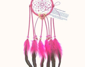 Fuchsia Dream Catcher, Bronzed Rooster Feathers