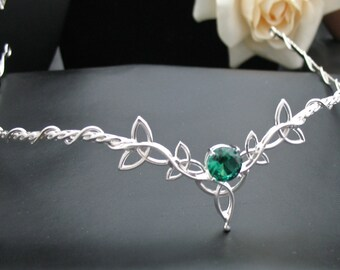 Wedding Bridal Headpiece Circlet, Celtic Trinity Knot Diadem, Art Nouveau Circlet, Bridal Circlet Gemstone, Sterling Silver Forehead Jewelry