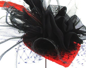 """Red FASCINATOR """"Zula"""" Red teardrop base with Black Netting, Veiling, Feathers, Ribbons, Hairclip, Fantasy Adornment, Dress, Burlesque"""
