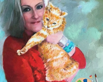 Custom Portrait of Adults with Pets - People Portraits from your Photo - Portraits by NC