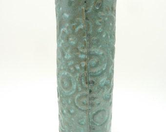 Handbuilt Blue Turquoise Stoneware Vase, Everything Vase, One of a Kind, Flower Vase, Cone 10, Stoneware Cylinder Vase, Wrap Vase