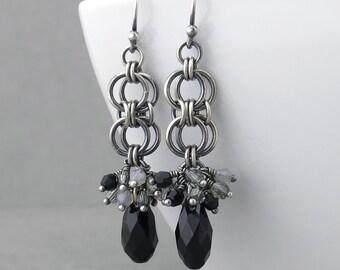 Jet Black Earrings Silver Drop Earrings Black Crystal Earrings Black Jewelry Sterling Silver Jewelry Gothic Jewelry - Teardrop