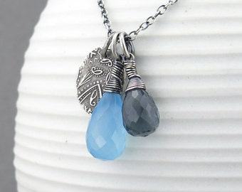 Boho Chic Jewelry Blue Gemstone Necklace Gray Pendant Necklace Gemstone Jewelry Silver Charm Jewelry Unique Handmade Jewelry - Duets