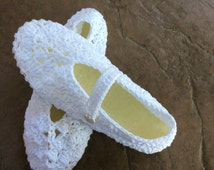 LDS Temple, bride, Sandals, slippers shoes, Women crochet. White.Mary Janes with rubber sole