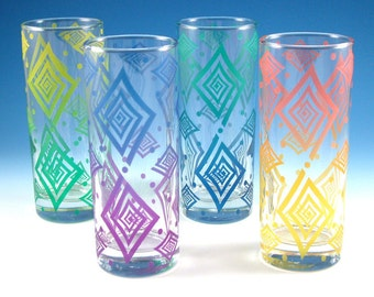 Spiral Diamonds - Highball Tumbler Glasses - Set of 4 - Inlaid Style - Etched and Painted Glassware - Custom Made to Order