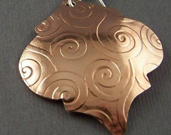 Moroccan Styled Reflection Spiral Copper Dangle Earrings