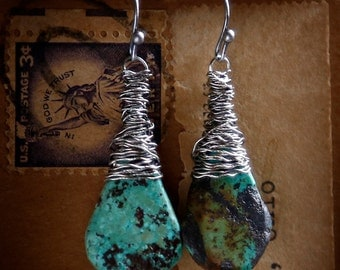 Turquoise Drops I - Strung-Out guitar string earrings with real turquoise stones