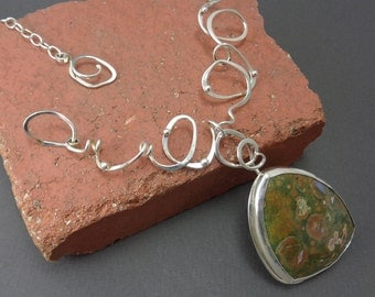 Ready to Ship! Scribbles Necklace Sterling Silver With Large Rainforest Jasper Statement Art Jewelry