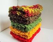 Crochet Dishcloth/ Washcloth - Handmade Wash Rag -Set of 5 Kitchen Dish Cloths-The Autumn Stack Color