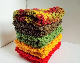 Crochet Dishcloth/ Washcloth - Handmade Wash Rag -Set of 5 Kitchen Dish Cloths-The Autumn Stack Color
