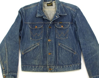 80s Wrangler Denim Jacket / Vintage 1980s Jeans Jacket / Western Hippie Boho Cowboy Bohemian Traditional American Jean Jacket
