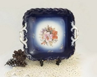 PM Bavaria Cobalt Flow Blue Tray, Vintage Double Handled Floral Serving Dish, Wedding Cookie or Cake Plate