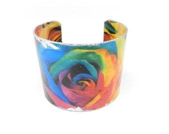 Bohemian Bracelet, Cuff Bracelet, Bracelet Cuff, Art Cuff, Decoupage Bracelet Cuff, Wide Cuff, Art Jewelry, Artisan Made by Durango Rose