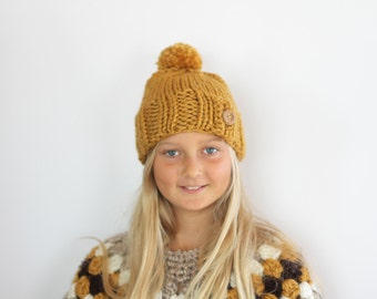 Chunky Knit Beanie with Wooden Button in Mustard Yellow for Children