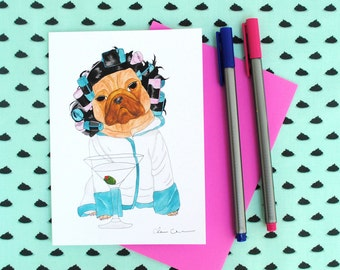 Funny Pug Cards,Just Because Cards,Best Friend Card,Funny Pets,Funny Animal Print,Friendship Card,Girls Night Out Invitations,Girls Night In