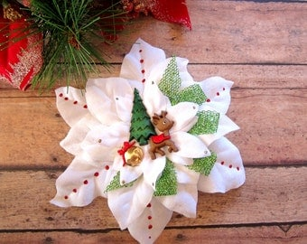 Reindeer Christmas Hair Clip, Holiday Pinup Hair Clip, Christmas Hair Clip