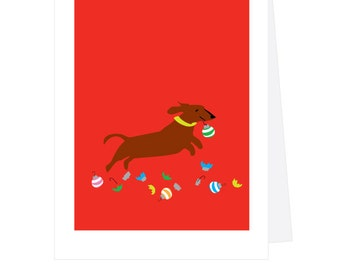 Dachshund with christmas ornaments greeting card collection
