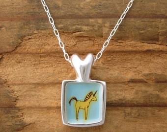Unicorn Love Necklace - Silver and Enamel Unicorn Pendant - LOVE Heart Necklace