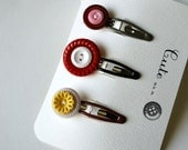 Cute as  Button Barrette Set--Vintage Button Barrettes