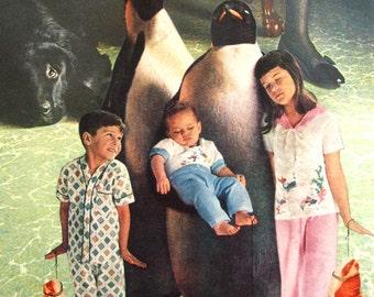 Original Collage on Paper-Penguins Looking over Kids
