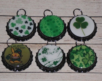 6 St. Patrick's Green - Shamrocks - Leprechaun - March 17 - Black Bottle Cap Charms Mini Tree Ornies Ornaments for Necklaces Party Favors