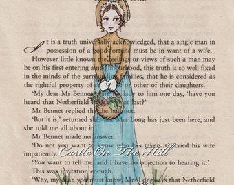 Pride and Prejudice Jane Austen Chapter One Print - Elizabeth Bennet - 5 x 7 print