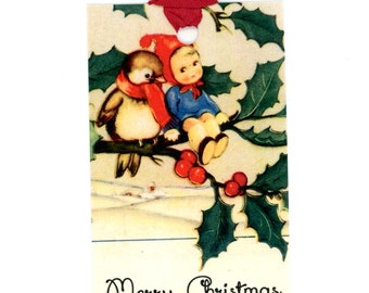 Merry Christmas Gift Tags , Holly Tags , Vintage Christmas , Bird and Child