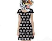 "Large ""Black Hearts"" Dress. Big Eyed Art Punk Rock Clothing by Megan Besmirched SALTY DAME"