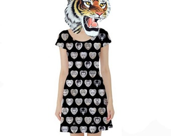 "Large ""Black Hearts"" Dress. Big Eyed Art Punk Rock Clothing by Megan Besmirched SALTY DAME"