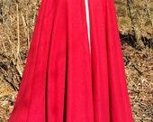 Long Red Cloak -  Full Circle Fleece Medieval Renaissance Cloak - Costume Cape