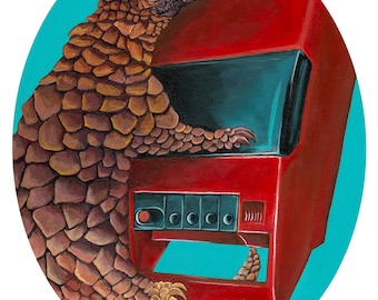 """Digital Print 10.75 x 13.5"""" Oval image on on card stock made from original Artwork of a Pangolin with a vintage red cassette player"""