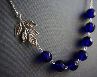 Statement Necklace,Leaf Necklace,Silver Leaf Necklace,Cobalt Blue Necklace,Crystal Necklace,Beaded Necklace,Bridesmaid Gift,Wedding Jewelry
