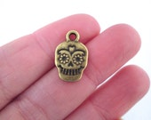 Brass Sugar Skull Charms Day of the Dead Charms