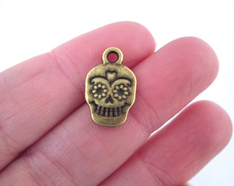 Brass Sugar Skull Charms Day of the Dead Charms, D104