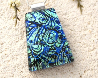 Blue Green Dichroic Necklace, Black Necklace, Contemporary Jewelry, Dichroic Pendant, Dichroic Jewelry, Fused Glass Jewelry, 062717p101