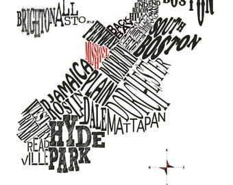 Customizable - Boston Neighborhood map 11x14 in print