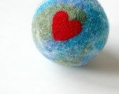Felted Wool Earth Ball:  World Toy Ball for Kids (100% Natural Materials)
