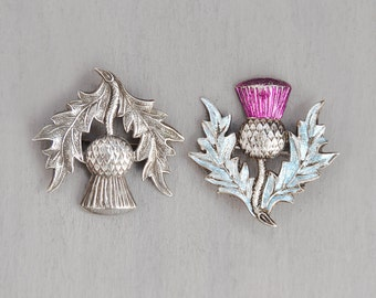 2 Vintage Thistle Brooches - silver metal and enameled Scottish flower pins - made in Great Britain