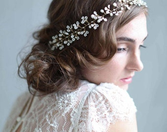 Bridal hair vine - Tiny beaded blossom hair vine - Style 704 - Made to Order