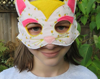 Cat Mask - Cat Costume - Floral Print - Shabby Couture - Masquerade Mask - Child Size